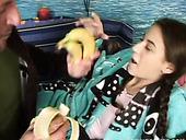 Perverse Daddy Uses Banana To Fuck Soaking Fresh Vagina Of Salty Amateur