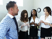 Three Cum-thirsty Chicks Seduce Handsome Co-worker Johnny Castle