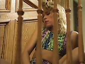 Kinky Blondie With Messy Hair Stripteases On The Steps And Flashes Butt