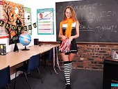 Whorish Chick Mia Is Dancing Striptease At Halloween In The College