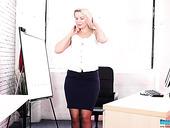 Office Slut Wearing Sexy Stockings Sky Shows Striptease