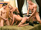 Trashy Brunette Slut With Small Tits Is Fucked Hard In  Gangbang