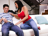 Brunet Mommy Reagan Foxx Gives A Great Blowjob To Her Stepson