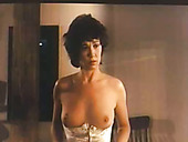 Vintage Messy Haired Brunette Flashes Her Natural Tits And Butt To Lure Dude