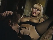 Charming Vintage Blonde In Black Lingerie Passionately Sucks Lollicock
