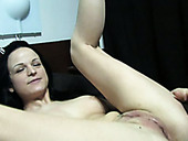 Pretty Pallid Brunette Hottie Goes Solo And Fingerfucks Her Shaved Twat