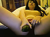 Perverted Webcam Busty Gal Uses Cucumber To Polish Her Wet Pussy