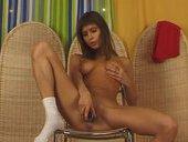 Malvina Masturbates Her Pussy Sitting On Glass Chair