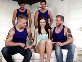 Several Furious Dudes Fuck Tina Kay's Both Holes In Flying Position