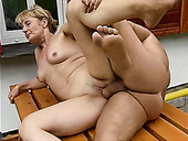 Disgusting Fat Mature Slut Rita Gets Fucked Doggy Outdoors