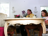 Horny Stepson Licks Step Mommy's Pussy Under The Table