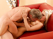 Tight Pinkish Pussy Of Blonde Babe Is Screwed Deep By Old  Uncle