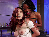 Ebony Mistress Lotus Lain Punishes Pussy Of Sweet Looking Korean Babe