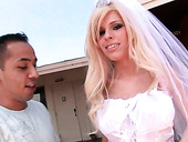 Horny Blond Bride Kenzi Marie Poses Upskirt To Win A Strong Dick For Sex