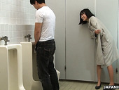 Crazy Asian Chick Uta Kohaku Pisses On Dick Of One Stranger Dude In A Public Toilet