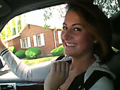 Dark Haired Wanton Teen Blows Big Cock Of Her Driver In Car