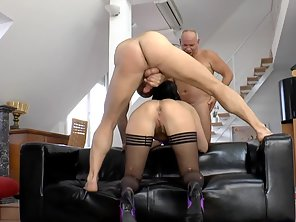Stockings Wearing Girl Takes Double Penetration From Guys