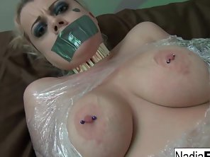 Bondage Babe Nadia White Got Muff Rubbed By Dude Indoors