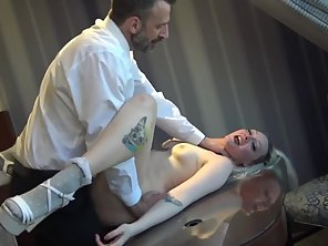 Tattooed Blonde Goes Naked On Bed Then Plowed By Dude