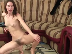Skinny Chick Masturbates Herself On Soft Couch