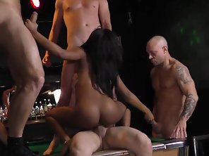 Stunning Ebony Babe Goes Naked And Rammed In Group