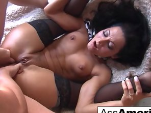 Brunette Sandra Romain In Black Stockings Enjoys Ass Pounding