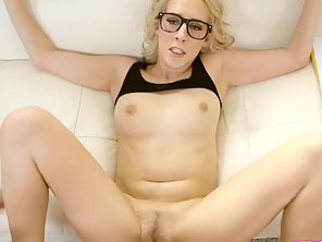 Russian Blonde Chick With Glasses Sucking Big White Cock