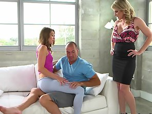 Blonde Mom Bent Over Teen And Toyed