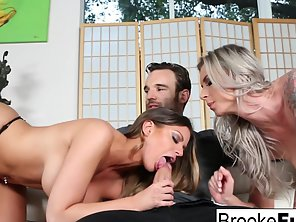 Sizzling Ladies Brooke Brand And Brooklyn Chase Sucked Big Cock