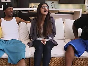 Juicy Booty Brunette Mia Khalifa And Two Big Black Cocks