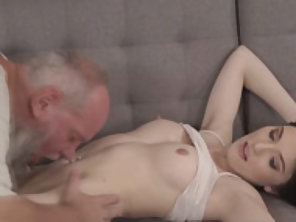 Brunette Mia Evans Gives Head And Gets Fucked By A Grandpa