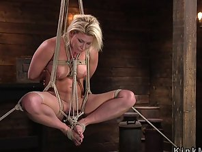 Hogtied Blonde Gets Double Penetration