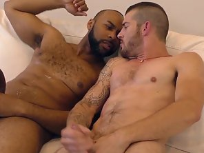 Tattooed Dude Goes On Knee And Suck Meaty Dick Partner