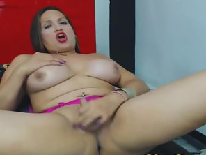 Busty Shemale Stroking Her Hard Cock