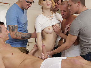 Blonde Belle Claire Gets An Orgy Double Penetration