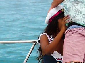 Ebony Captain Banging On A Boat