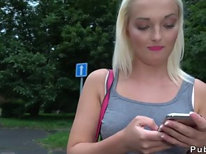 Czech Blonde Amateur Bangs In Public