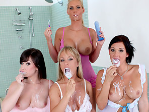Naughty Hotties Licks And Toys Their Yummy Asses After Brushing Teeth