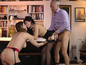 Two Brunette Babes Enjoy Threesome Fucking With Old Dude