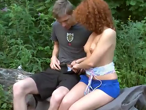 Curly Teen Sunny Takes Big Cock Outdoor