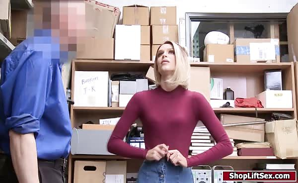 Blonde Lady Fucked For Hiding Merchandise In Her Bra
