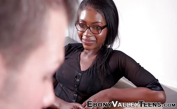 Ebony Teen In Spex Fucked