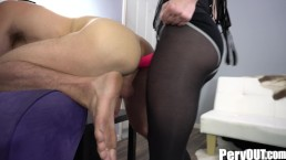 Goth Teen Femdom Makes Slave Shove His Balls Up His Ass