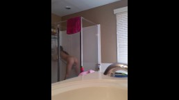SPYING My Teen Flatmate Showering Mastrubating With Water HIDDEM CAM