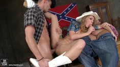Two Horny Cowboys Anal Fuck Nataly Von