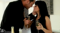 Glamour Brunette In Black Anastasia Brill Gives BJ