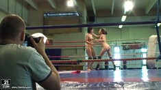 Lesbian Nude Fight BTS With Henessy And Abbie Cat
