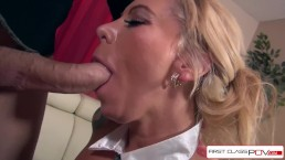 Hot Secretary Lolly Ink Sucking A Monster Cock, Big Boobs – FirstClassPOV