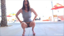 Amber Flashing In Public Gets Caught By Police Part 1