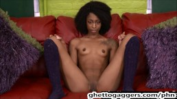Cute & Slim Black Zombie Bitch Throat & Pussy Punished By White Cocks